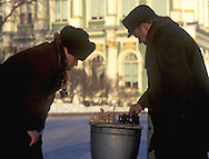 Photographers playing chess in front of the<br /> Hermitage in winter<br /> St. Petersburg, Russia