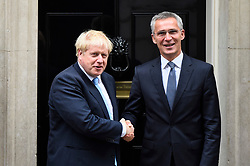 © Licensed to London News Pictures. 15/10/2019. LONDON, UK.  Boris Johnson, Prime Minister, meets Jens Stoltenberg, NATO Secretary General, for talks at Number 10 Downing Street.  Photo credit: Stephen Chung/LNP