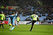 Peterborough United forward Ivan Toney (17) with a shot   during the EFL Sky Bet League 1 match between Coventry City and Peterborough United at the Ricoh Arena, Coventry, England on 23 November 2018.