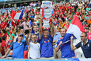 France fans with replica trophy during the Euro 2016 final between Portugal and France at Stade de France, Saint-Denis, Paris, France on 10 July 2016. Photo by Phil Duncan.