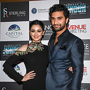 "Hania Amir and Ahad Raza Mir attend Photocall in London Premiere of ""Parwaaz Hai Junoon"" (Soaring Passion) as featured on SKY, ITV at The May Fair Hotel, Stratton Street, London, UK. 22 August 2018."