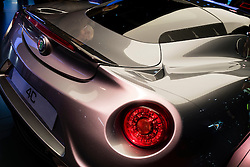 Detail of Alfa Romeo 4C car at Paris Motor Show 2016