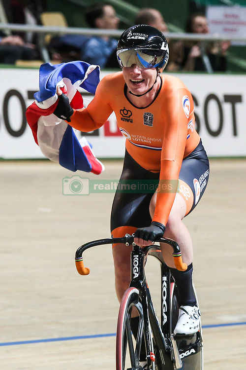 March 1, 2019 - Pruszkow, Poland - Kirsten Wild of Netherlands celebrates winning the gold medal in the Women's omnium final on day three of the UCI Track Cycling World Championships held in the BGZ BNP Paribas Velodrome Arena on March 01, 2019 in Pruszkow, Poland. (Credit Image: © Foto Olimpik/NurPhoto via ZUMA Press)