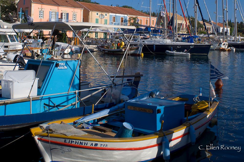Fishing boats in the harbour in Fiskardo, Kefalonia, The Ionian Islands, Greece