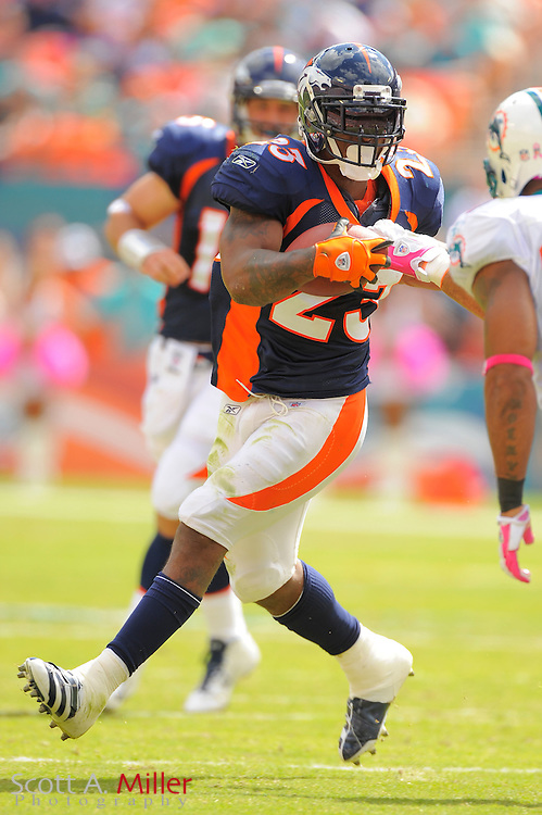 Denver Broncos running back Willis McGahee (23) runs upfield during the Broncos 18-15 overtime win against the Miami Dolphins at Sun Life Stadium on Oct. 22, 2011 in Miami Gardens, Fla.  ...©2011 Scott A. Miller
