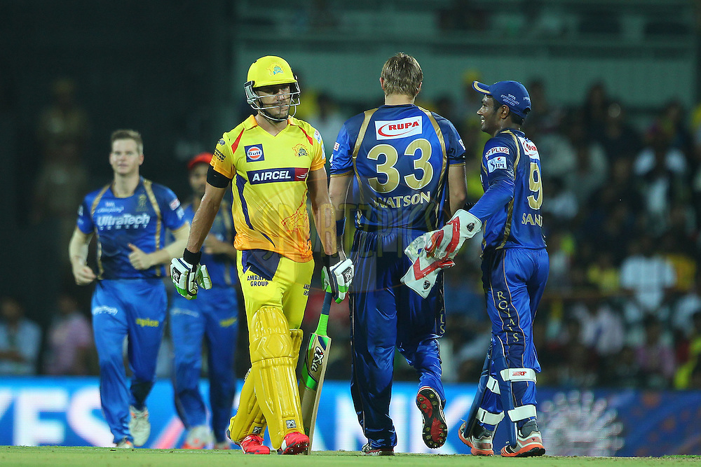 Faf Du Plessis of the Chennai Superkings departs during match 47 of the Pepsi IPL 2015 (Indian Premier League) between The Chennai Superkings and The Rajasthan Royals held at the M. A. Chidambaram Stadium, Chennai Stadium in Chennai, India on the 10th May 2015.<br /> <br /> Photo by:  Ron Gaunt / SPORTZPICS / IPL