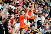Cricket fans celebrate Martin Guptill's 50 runs. ANZ One Day International Cricket Series. Match 3 between New Zealand Back Caps and Sri Lanka at Eden Park in Auckland. New Zealand. Saturday 17 January 2015. Photo: Anthony Au-Yeung / www.photosport.co.nz