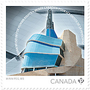 PRODUCT: Postage Stamp<br /> TITLE: Canadian Museum for Human Rights<br /> CLIENT: Canada Post