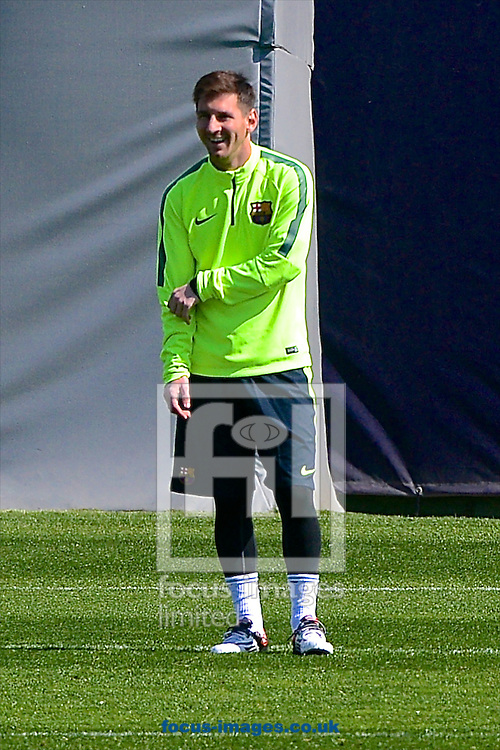 Lionel Messi of FC Barcelona pictured during training  at Ciutat Esportiva Joan Gamper, Sant Joan Desp&iacute; ahead of their UEFA Champions League last 16 second leg.<br /> Picture by Ian Wadkins/Focus Images Ltd +44 7877 568959<br /> 17/03/2015