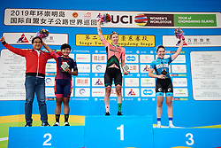 Top three on the stage: Lorena Wiebes (NED), Jutatip Maneephan (THA) and Lucy Garner (GBR) at Tour of Chongming Island 2019 - Stage 2, a 126.6 km road race from Changxing Island to Chongming Island, China on May 10, 2019. Photo by Sean Robinson/velofocus.com