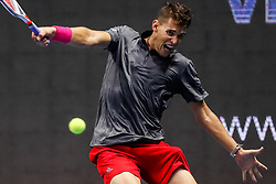 September 22, 2018 - Saint Petersburg, Russia - Dominic Thiem of Austria returns the ball to Roberto Bautista Agut of Spain during their St. Petersburg Open 2018 semi final tennis match on September 22, 2018 in Saint Petersburg, Russia. (Credit Image: © Mike Kireev/NurPhoto/ZUMA Press)