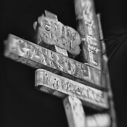 Garden Motel Sign - Kingsburg, CA - Old Highway 99 - HDR - Lensbaby - Infrared Black & White