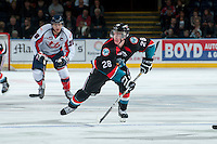 KELOWNA, CANADA, OCTOBER 16 -  Joe Gatenby #28 of the Kelowna Rockets skates on the ice against the Lethbridge Hurricanes on Wednesday, October 16, 2013 at Prospera Place in Kelowna, British Columbia (photo by Marissa Baecker/Getty Images)***Local Caption***