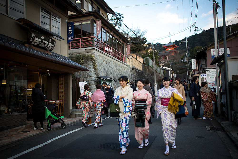 KYOTO , JAPAN - JANUARY 10 : A woman dress in Kimono walks in the street of Kiyomizu-dera, Kyoto prefecture, Japan on Sunday, January 10, 2016.  Photo: Richard Atrero de Guzman