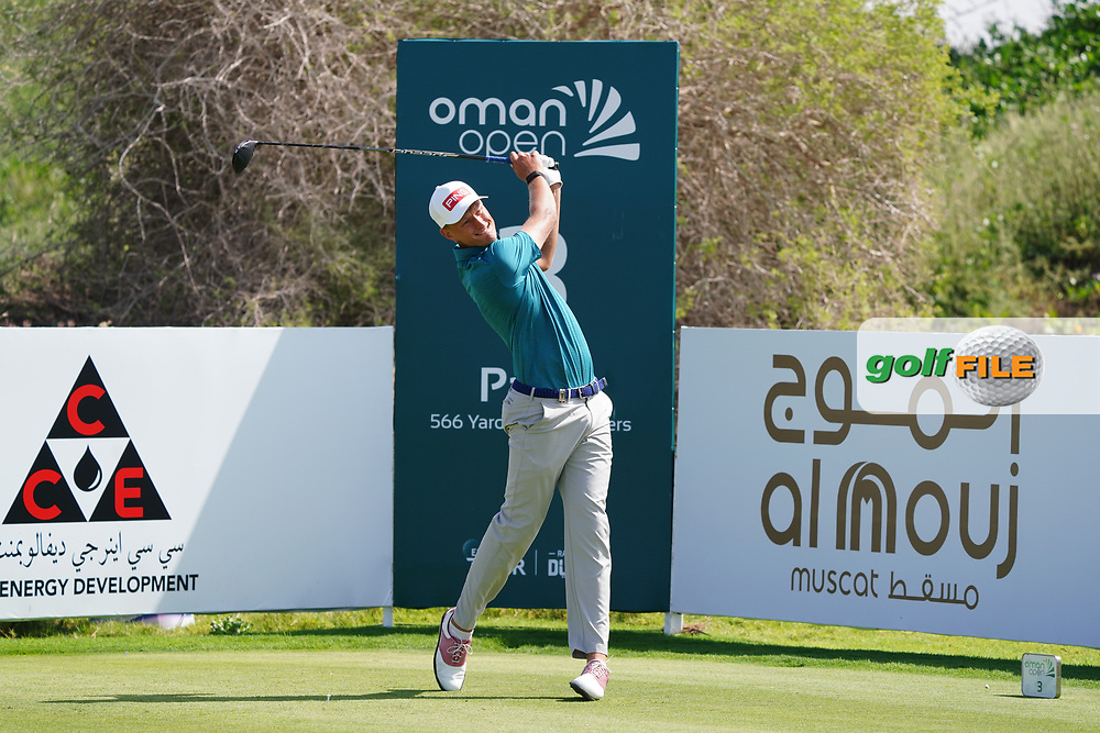 Adrian Meronk (POL) on the 3rd during Round 2 of the Oman Open 2020 at the Al Mouj Golf Club, Muscat, Oman . 28/02/2020<br /> Picture: Golffile   Thos Caffrey<br /> <br /> <br /> All photo usage must carry mandatory copyright credit (© Golffile   Thos Caffrey)