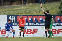 Fotball<br /> 17.04.2016<br /> OBOS lIgaen<br /> Åsane - Ranheim<br /> Robert Stene (L) , Ranheim blir taklet som siste mann av<br /> Stian Nygaard (M) , Åsane som får rødt kort av <br /> dommer Anders Gjermshus (R)<br /> Foto: Astrid M. Nordhaug, Digitalsport