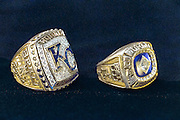KANSAS CITY, MO - APRIL 5, 2016: The World Series Championship rings of Hall of Famer and Royals great, George Brett, who played his entire 21-year career with the Royals, are seen at Kauffman Stadium on April 5, 2016 in Kansas City, Missouri. (Photo by Jean Fruth)