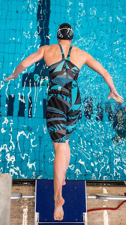 SCUW's Sasha TOURETSKI of Switzerland dives off the block in the women's 100m Freestyle Heats during the Swiss Swimming Championships at the Piscine des Vernets in Geneva, Switzerland, Saturday, March 25, 2017. (Photo by Patrick B. Kraemer / MAGICPBK)
