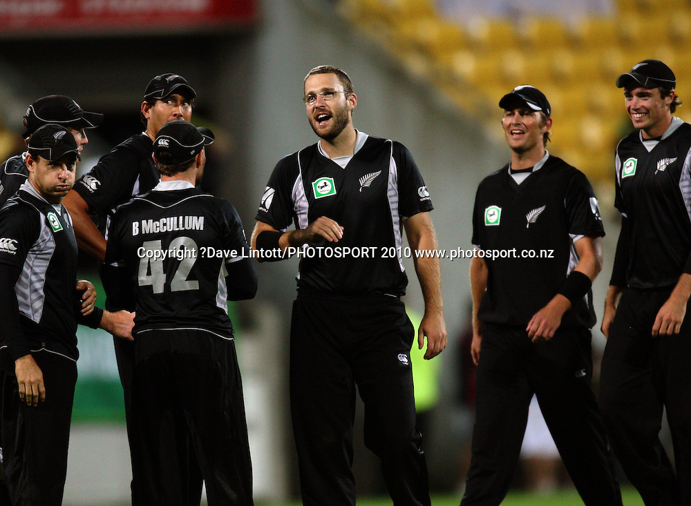 NZ players celebrate.<br /> Fifth Chappell-Hadlee Trophy one-day international cricket match - New Zealand v Australia at Westpac Stadium, Wellington. Saturday, 13 March 2010. Photo: Dave Lintott/PHOTOSPORT