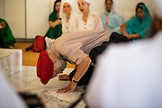 12 AUGUST 2012 - PHOENIX, AZ:  A member of the Phoenix Sikh community touches his forehead to the ground and  makes an offering to the Guru during Sunday services at the Guru Nank Dwara Ashram Sikh temple in central Phoenix. Guru Nank Dwara Ashram is the oldest of three Sikh temples in the Phoenix area. There are about 1,500 Sikh families in the area. Memorials have been held throughout the week to honor the Sikhs killed in the mass shooting in Wisconsin last week. Sunday's service included several mentions of the massacre and was attended by a number of people active in the Phoenix interfaith community.   PHOTO BY JACK KURTZ