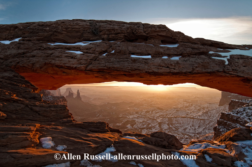 Mesa Arch, Canyonlands National Park, Island in the Sky, Worker Woman Arch,  Monster Tower, Airport Tower, Colorado River Gorge seen through arch, sunrise, Utah