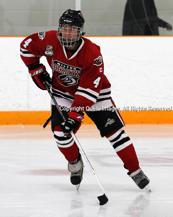STOUFFVILLE, ON - Sep 12 : Ontario Junior Hockey League Game Action between the Milton Icehawks and the Stouffville Spirit,<br /> (Photo by Brian Watts / OJHL Images)