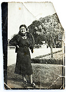 woman posing damaged vintage photograph