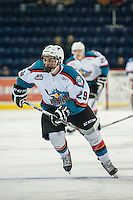 KELOWNA, CANADA - SEPTEMBER 5: Liam Kindree #29 of Kelowna Rockets skates against the Prince George Cougars on September 5, 2015 during the first pre-season game at Prospera Place in Kelowna, British Columbia, Canada.  (Photo by Marissa Baecker/Shoot the Breeze)  *** Local Caption *** Liam Kindree;