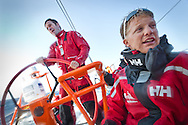 SPAIN, Alicante. 20th October 2011. On board Team Sanya practice session. Skipper Mike Sanderson and Navigator Aksel Magdahl.
