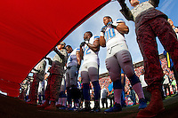 16 September 2012: Defensive tackle (90) Ndamukong Suh of the Detroit Lions stands with his teammates and the military during the National Anthem before the San Francisco 49ers 27-19 victory against the Lions in an NFL football game at Candlestick Park in San Francisco, CA.