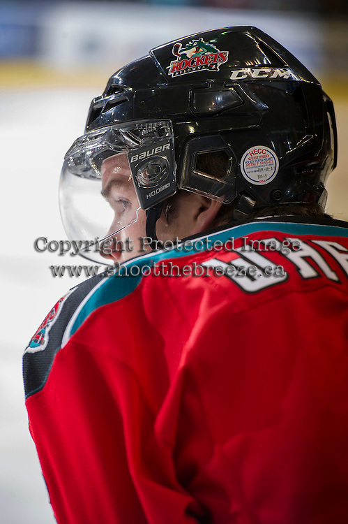 KELOWNA, CANADA - NOVEMBER 30: Mitchell Wheaton #6 of the Kelowna Rockets stands on the bench opposite the Moose Jaw Warriors at the Kelowna Rockets on November 30, 2012 at Prospera Place in Kelowna, British Columbia, Canada (Photo by Marissa Baecker/Getty Images) *** Local Caption ***