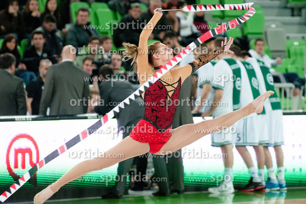 Pia Arhar, rhythmic gymnastics, during basketball match between KK Union Olimpija and Unics Kazan (RUS) of 10th Round in Group D of Regular season of Euroleague 2011/2012 on December 21, 2011, in Arena Stozice, Ljubljana, Slovenia. (Photo by Matic Klansek Velej / Sportida)