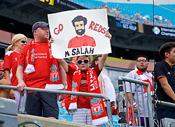 CHARLOTTE, USA - Sunday, July 22, 2018: A Liverpool supporter with a Mohamed Salah banner during a preseason International Champions Cup match between Borussia Dortmund and Liverpool FC at the  Bank of America Stadium. (Pic by David Rawcliffe/Propaganda)