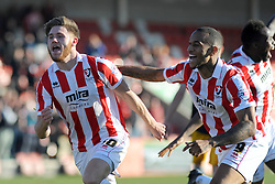 Cheltenham Town's Wes Burns celebrates his goal - Photo mandatory by-line: Nizaam Jones  - Mobile: 07966 386802 - 07/03/2015 - SPORT - Football - Cheltenham - Whaddon Road- Cheltenham Town v Mansfield - Sky Bet League Two