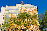 Mural and tree, Lyon, France (UNESCO World Heritage Site)
