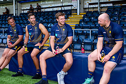 Anton Bresler, Graham Kitchener, Matt Kvesic and Joe Batley with iPro drinks - Mandatory by-line: Robbie Stephenson/JMP - 24/08/2020 - RUGBY - Sixways Stadium - Worcester, England - Worcester Warriors Sponsors 2020/21