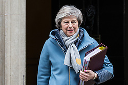 London, UK. 9th January, 2019. Prime Minister Theresa May leaves 10 Downing Street to attend the first session of Prime Minister's Questions since the Christmas recess, followed by the first day of the Brexit debate which will precede next week's vote in the House of Commons.