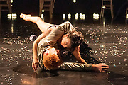 Dutch-born and London-based choreographer Didy Veldman explores familiar scenes of marriage as theatre spaces become wedding venues. Guests arrive and excitement builds as scenes of love and togetherness overcome anticipation and nerves amongst the wedding party. Featuring Oliver Chapman & Mai Lisa Guinoo.<br /> At The Place Theatre, London. © Tony Nandi 2018