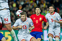 Macedonia's Stefan Ristovski Spain's Sergio Busquets  during the match of European qualifying round between Spain and Macedonia at Nuevo Los Carmenes Stadium in Granada, Spain. November 12, 2016. (ALTERPHOTOS/Rodrigo Jimenez)