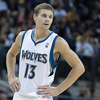 04 October 2010: Minnesota Timberwolves guard Luke Ridnour rests during the Minnesota Timberwolves 111-92 victory over the Los Angeles Lakers, during 2010 NBA Europe Live, at the O2 Arena in London, England.