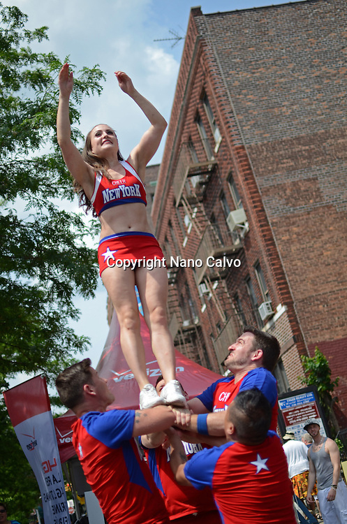 Cheerleading group performing during Queens Pride Gay Parade in Jackson Heights, New York City