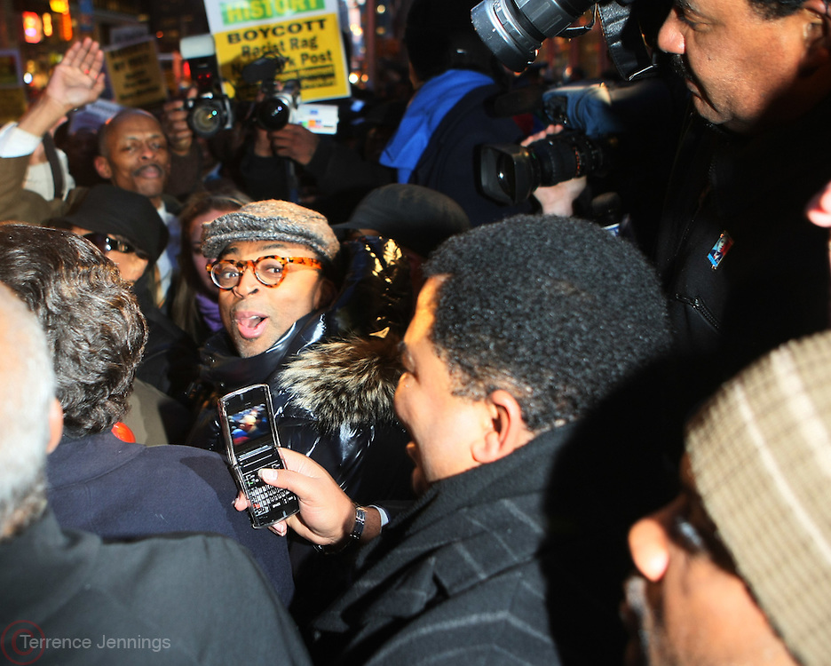 20 February 2009 NY, NY - Spike Lee at Day 2 of New York Post Protest by Rev. Al Sharpton and The National Network against offensive cartoon depicting dead Chimpanzee as President Obama. Photo Credit: T.Jennings/Sipa