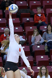 23 November 2017:  Ella Francis during a college women's volleyball match between the Valparaiso Crusaders and the Illinois State Redbirds in the Missouri Valley Conference Tournament at Redbird Arena in Normal IL (Photo by Alan Look)