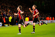 AFC Bournemouth midfielder Harry Arter celebrates his goal with AFC Bournemouth midfielder Dan Gosling during the Barclays Premier League match between Bournemouth and West Ham United at the Goldsands Stadium, Bournemouth, England on 12 January 2016. Photo by Graham Hunt.