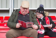 Salford City fans before the EFL Sky Bet League 2 match between Salford City and Macclesfield Town at the Peninsula Stadium, Salford, United Kingdom on 23 November 2019.