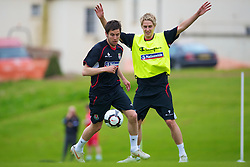 CARDIFF, WALES - Wednesday, May 19, 2010: Wales' Brian Stock and David Edwards during a training session at the Vale of Glamorgan Hotel ahead of the International Friendly match against Croatia. (Pic by David Rawcliffe/Propaganda)