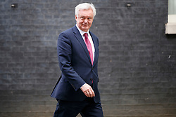 © Licensed to London News Pictures. 18/04/2017. London, UK. Brexit Secretary DAVID DAVIS leaves Downing Street after Prime Minister Theresa May calls for an early election on 18 April 2017. Photo credit: Tolga Akmen/LNP