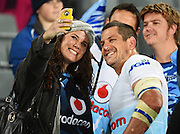 Johan Spies poses for a selfie with fans during the Super Rugby match between The Blues and Bulls at Eden Park in Auckland, New Zealand. Friday 15 May 2015. Copyright Photo: Andrew Cornaga / www.Photosport.co.nz