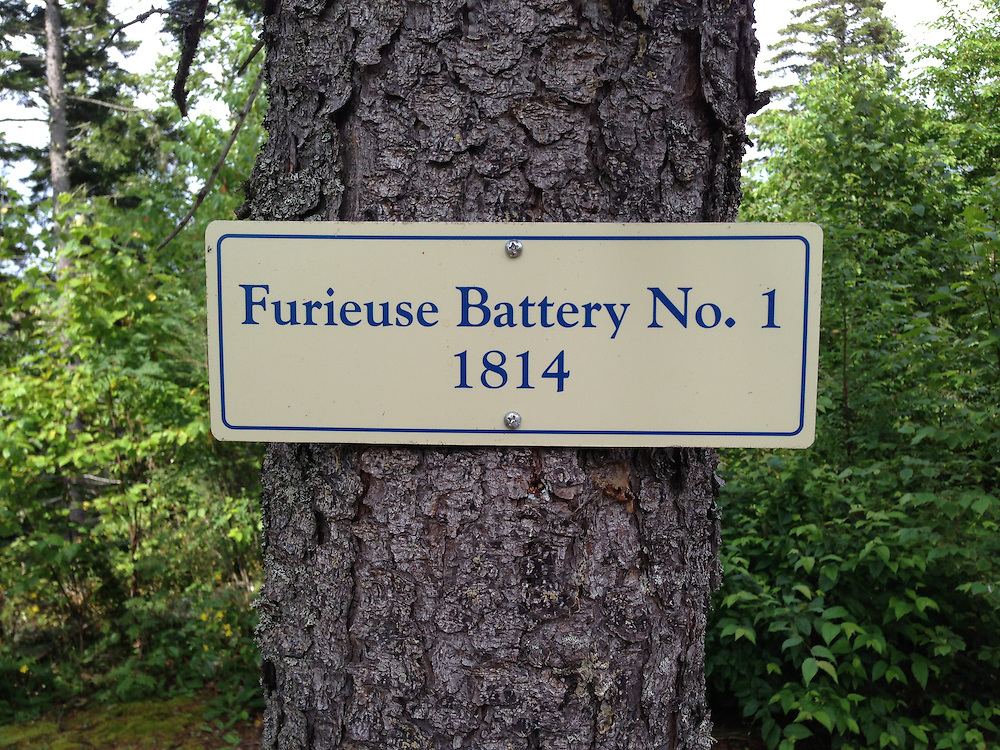 Furieuse Battery No. 1 - 1814 Sign, Witherle Woods, Castine, Maine, US