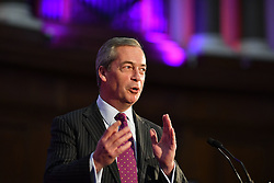Bekanntgabe des neuen UKIP-Parteivorsitzenden in London / 281116 *** LONDON, UK 28TH NOVEMBER 2016: Nigel Farage at the Announcement of The New UKIP Leader at The Emmanuel Center, London, England. 28th November 2016.